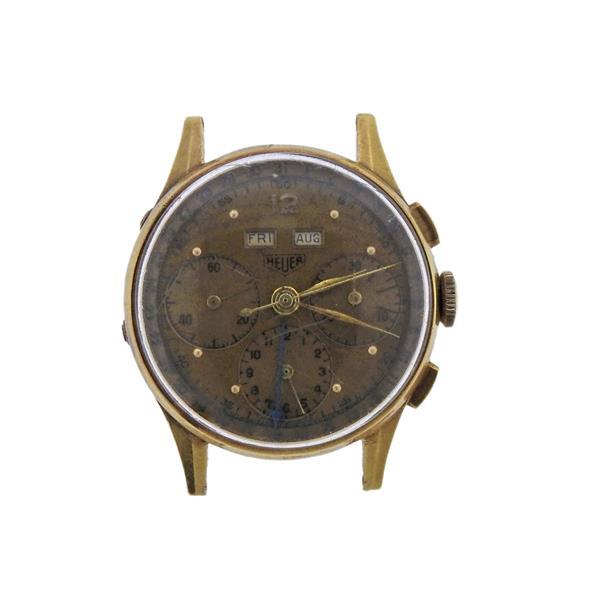 Heuer 18K Gold Chronograph Annual Calendar Watch