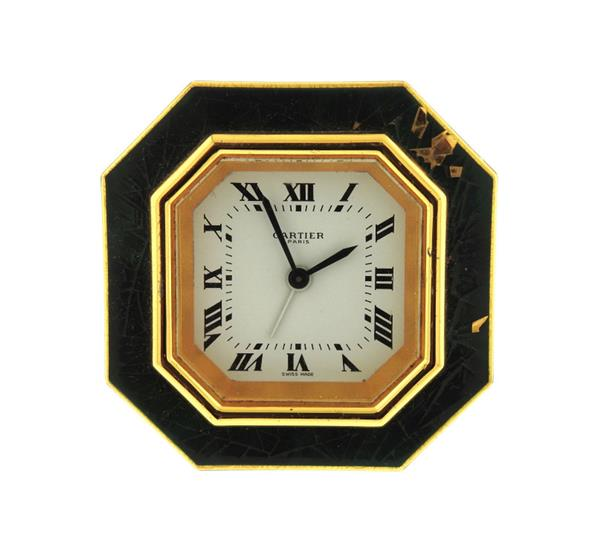 Cartier Gold Tone Travel Clock