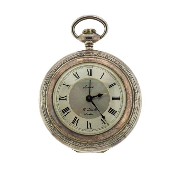 Arnex Sterling Silver Pocket Watch Style Alarm Clock