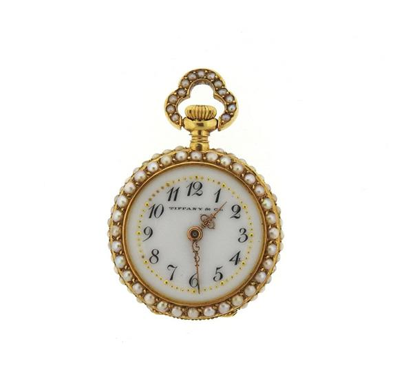 Tiffany & Co 18k Gold Pearl Diamond Lady's Pocket Watch