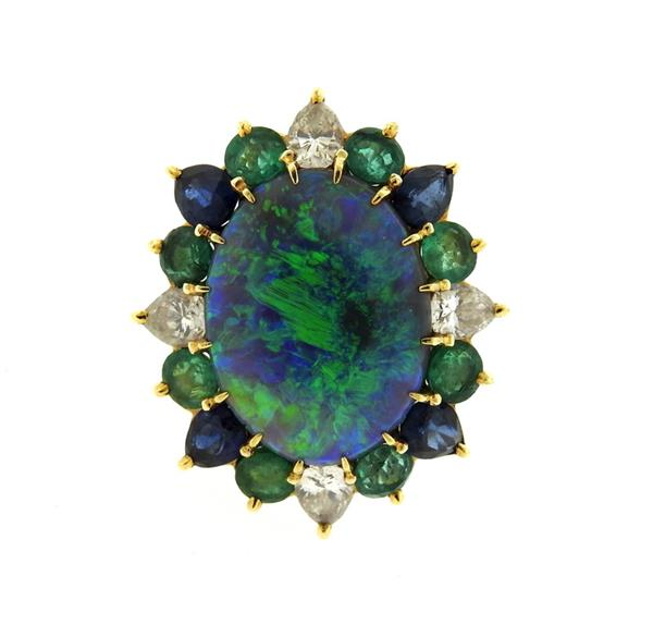 18k Gold Black Australian Opal Gemstone Diamond Ring
