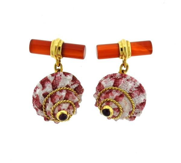 Antora 18k Gold Shell Carnelian Ruby Cufflinks
