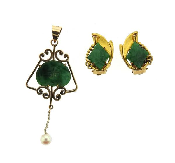 Antique 14k Gold Carved Jade Earrings Pendant Lot