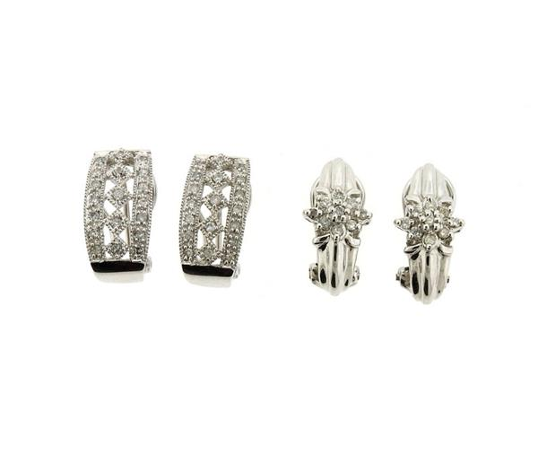 10k Gold Diamond Half Hoop Earrings Lot of 2