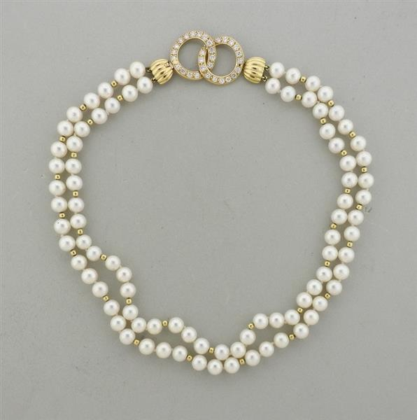 14k Gold Diamond Pearl Necklace