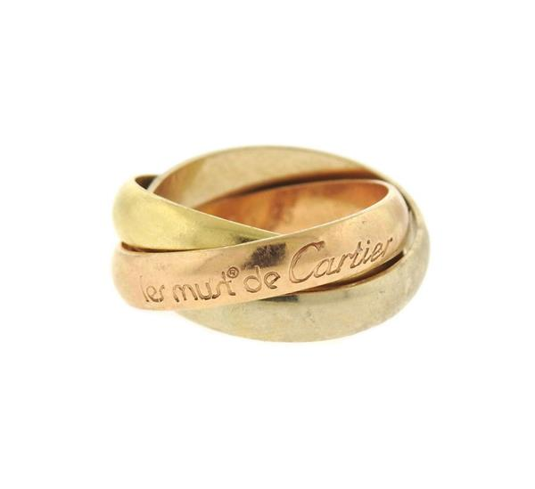 Cartier Trinity 18k Tri Color Gold Rolling Band Ring