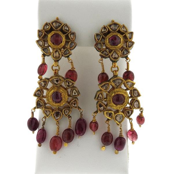 Indian 22k Gold Rose Cut Diamond Ruby Enamel Earrings