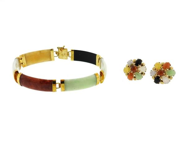 14k Gold Multi Color Jade Bracelet Earrings Set