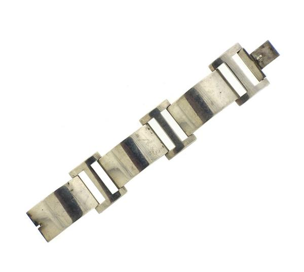 French Modernist Sterling Large Bracelet