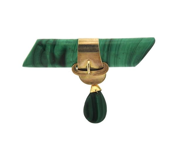 Antique Victorian 14k Gold Malachite Brooch Pin