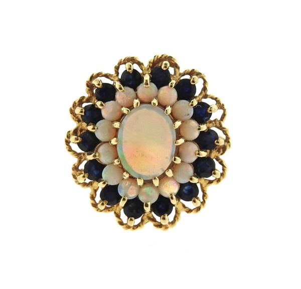 14k Gold Opal Sapphire Ring