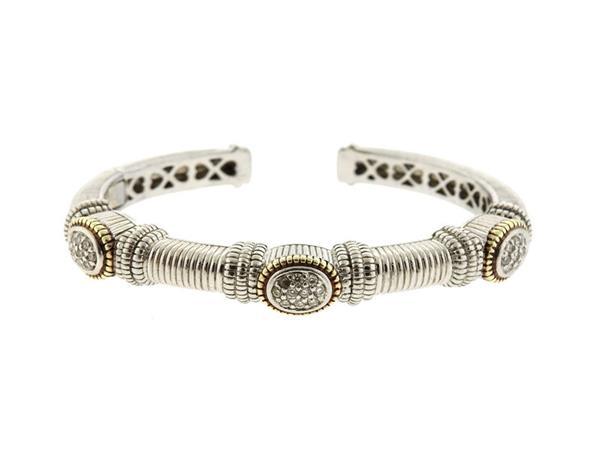 Judith Ripka 18k Gold Sterling Diamond Cuff Bracelet