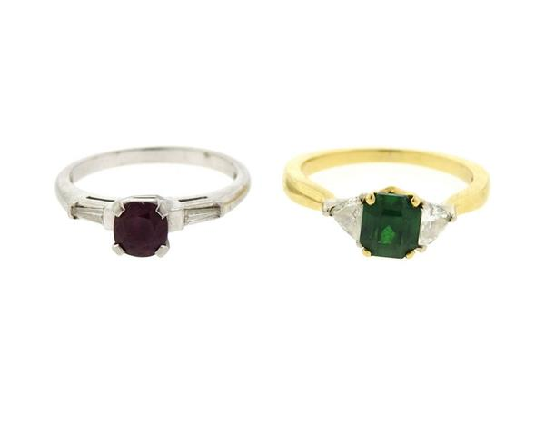 C.D. Peacock Platinum 18k Gold Ruby Emerald Diamond Ring Lot of 2