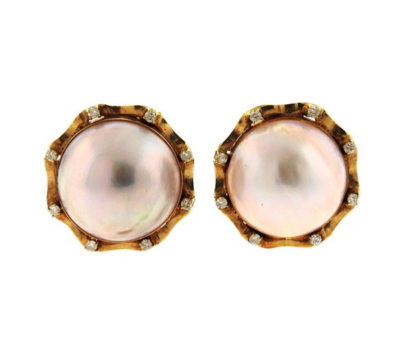 14k Gold Diamond Mabe Pearl Earrings