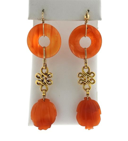 18k Gold Orange Jade Long Drop Earrings