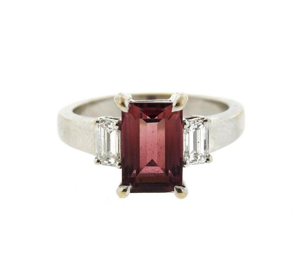 18k Gold Pink Tourmaline Diamond Ring