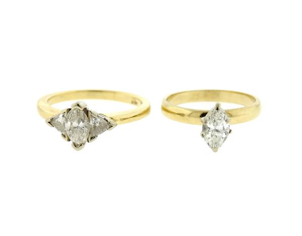 14k Gold Diamond Engagement Ring Lot of 2