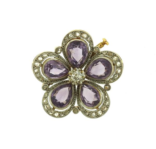 Antique 14k Gold Sterling Rose Cut Diamond Purple Stone Brooch