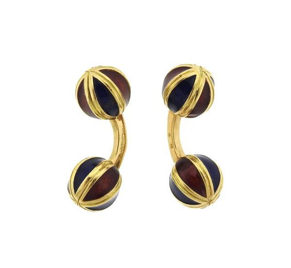 Jean Schlumberger 18k Gold Enamel Cufflinks