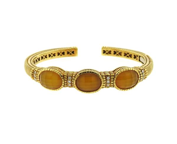 Judith Ripka 18k Gold Diamond Gemstone Bracelet