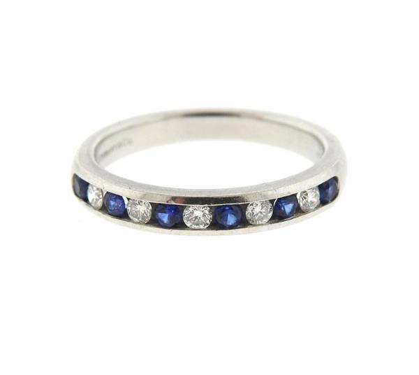 Tiffany & Co Platinum Diamond Sapphire Half Band Wedding Ring