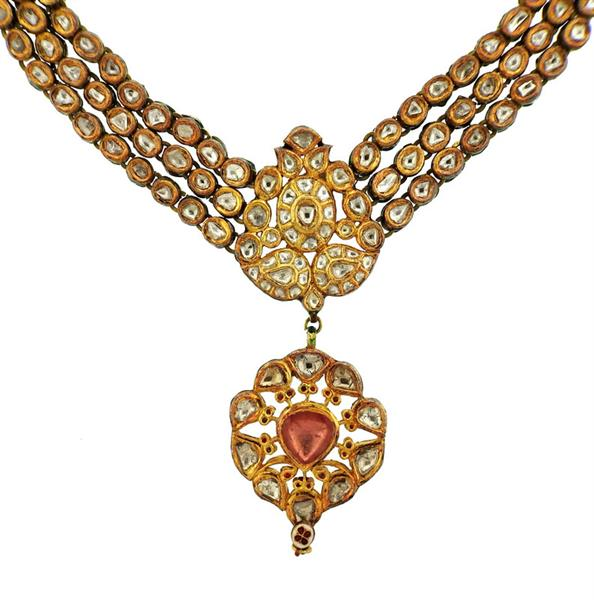 Indian 22k Gold Rose Cut Diamond Enamel Necklace