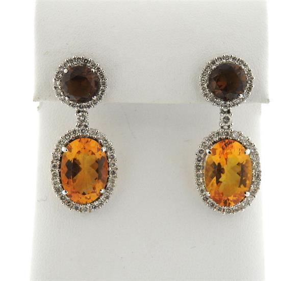 18k Gold 1.20ctw Diamond Gemstone Drop Earrings