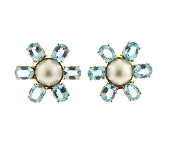 Tous 18k Gold Blue Topaz Pearl Large Flower Earrings