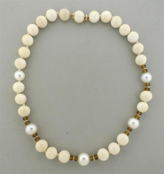 Trianon 18K Gold Pearl Mammoth Bead Smokey Topaz Necklace