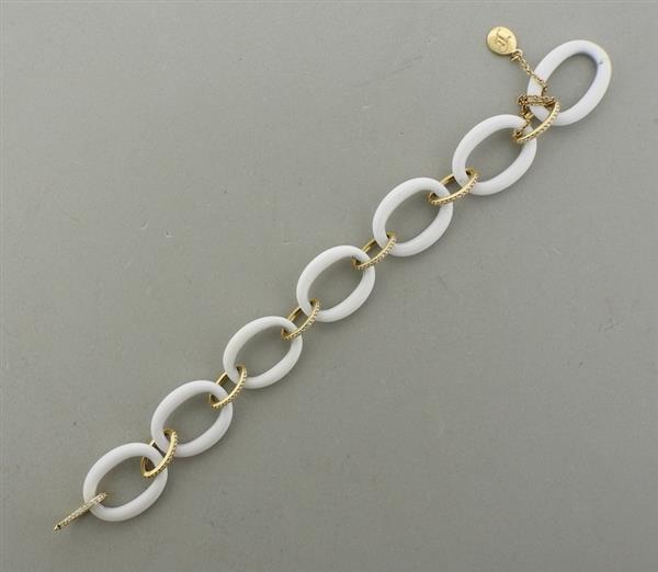 Ivanka Trump 18K Gold Diamond Enamel Link Bracelet