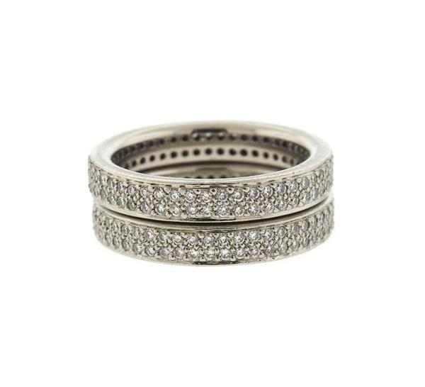 Ritani Platinum Diamond Wedding Band Ring Lot of 2