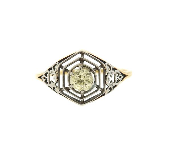 Art Deco 14K Gold Platinum Diamond Engagement Ring