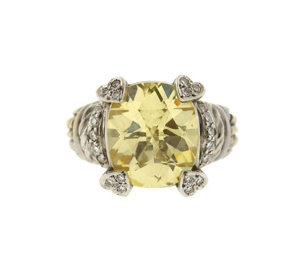 Judith Ripka Lola 18K Gold Diamond Canary Crystal Ring