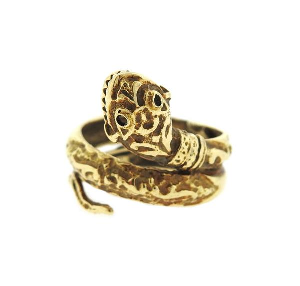 Antique 14K Gold Snake Ring