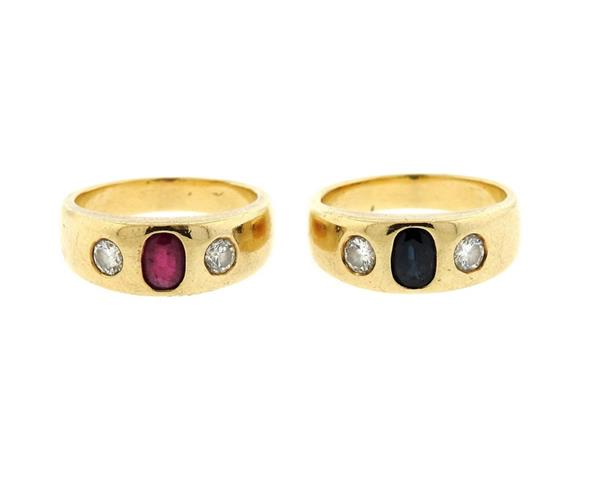 14K Gold Diamond Ruby Sapphire Gypsy Ring Lot of 2