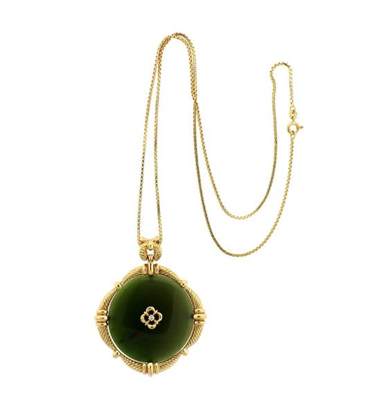 UnoAErre 18K Gold Necklace 14K Green Stone Diamond Pendant