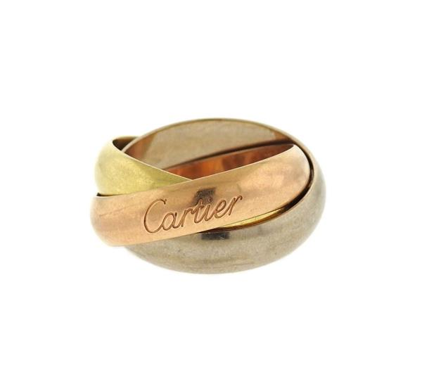 Wide Cartier Trinity 18K Tri Color Gold Ring