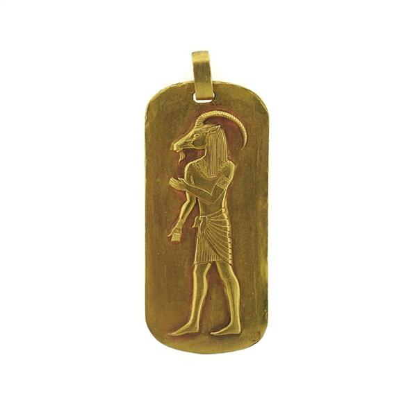 18K Gold Egyptian God Khnum Pendant