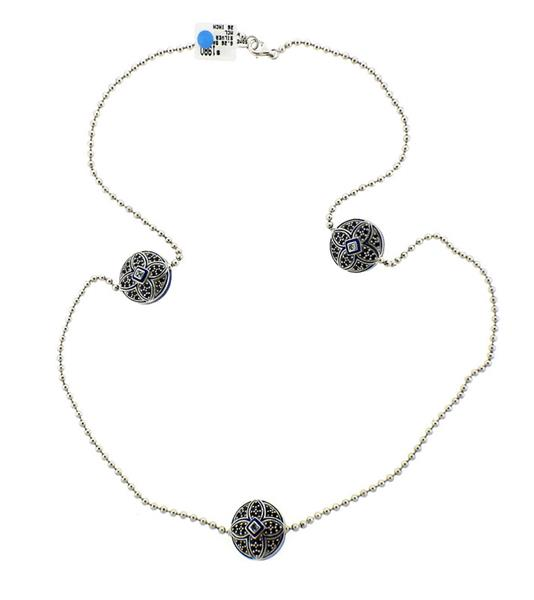 Matthew Campbell Laurenza MCL Sterling Sapphire Station Necklace