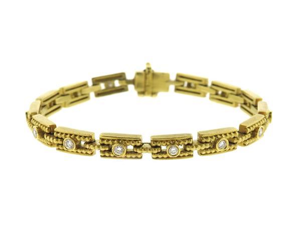 Modern 18K Gold Diamond Link Bracelet