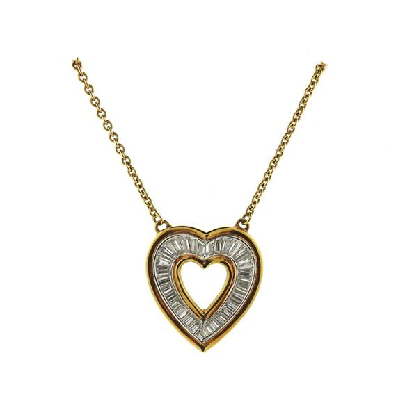 18K Gold Diamond Heart Pendant Necklace