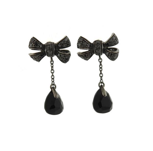 Pomellato 18K Gold Onyx Black Diamond Bow Earrings