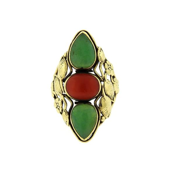14k Gold Jade Coral Ring