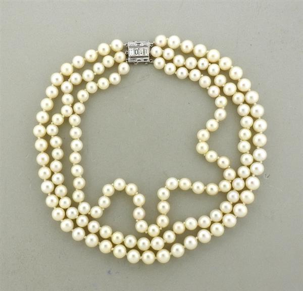 Art Deco Platinum Diamond Pearl Necklace