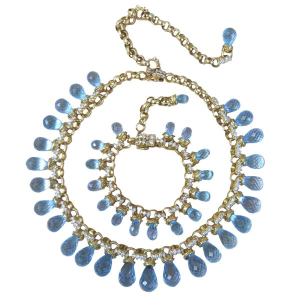 Laura Munder Blue Topaz Diamond 18k Gold Necklace Bracelet Suite