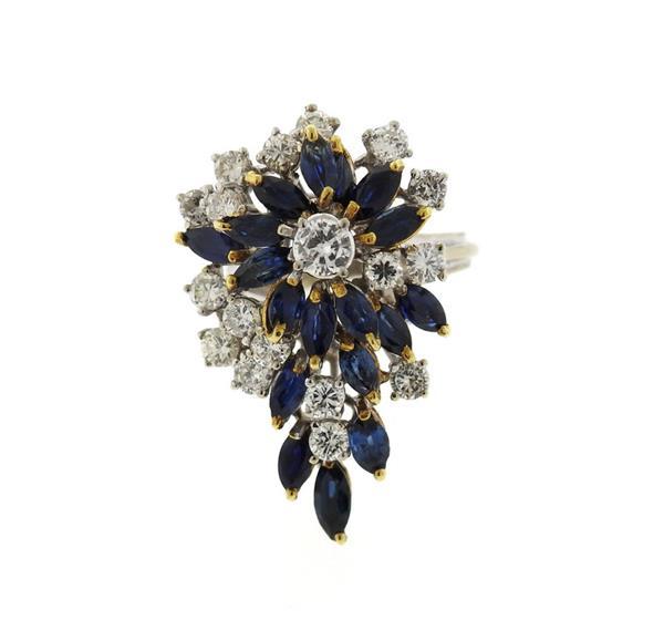 18K Gold Diamond Sapphire Cluster Ring