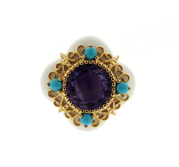 14K Gold Multi Gemstone Ring