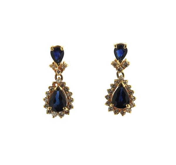 14K Gold Diamond Sapphire Dangle Earrings