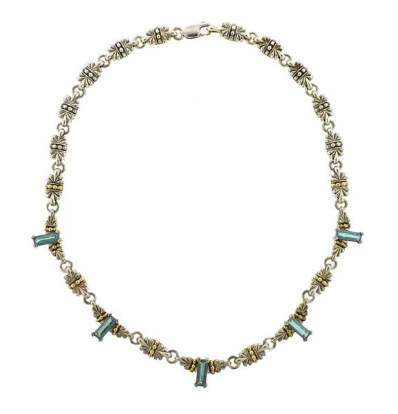 Lagos Caviar 18K Gold Sterling Green Tourmaline Necklace
