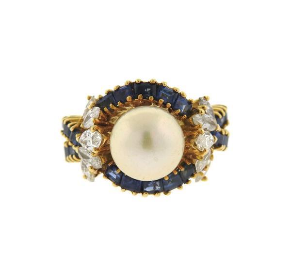 18k Gold Diamond Pearl Sapphire Ring